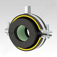 Изоляционный хомут MÜPRO тип H ‒ толщина изоляции 9,5‒16 мм, из двух частей, с DÄMMGULAST® и изоляционным блоком